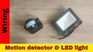 PIR motion sensor and garden LED light wiring.
