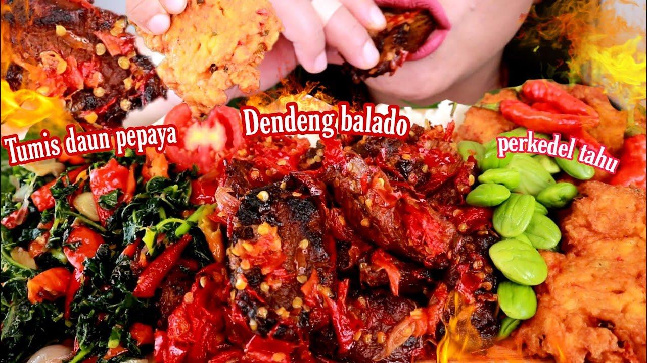 ASMR DENDENG BALADO TUMIS DAUN PEPAYA PERKEDEL TAHU | ASMR MUKBANG INDONESIA