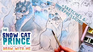 Draw with me • Designing The Snow Cat Princes + sketches / expressions