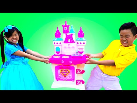 Emma Pretend Play with Princess Castle Kitchen Play Set Kids Food Toys