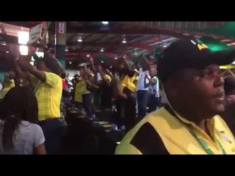 Supporters of Presidential Aspirant Nkosazana Dlamini Zuma Singing At ANC Congress in SA