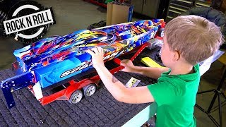 UNBOXiNG a TRAXXAS SPARTAN ROCK n' ROLL V-Hull SPEED BOAT w/ my Son! | RC ADVENTURES