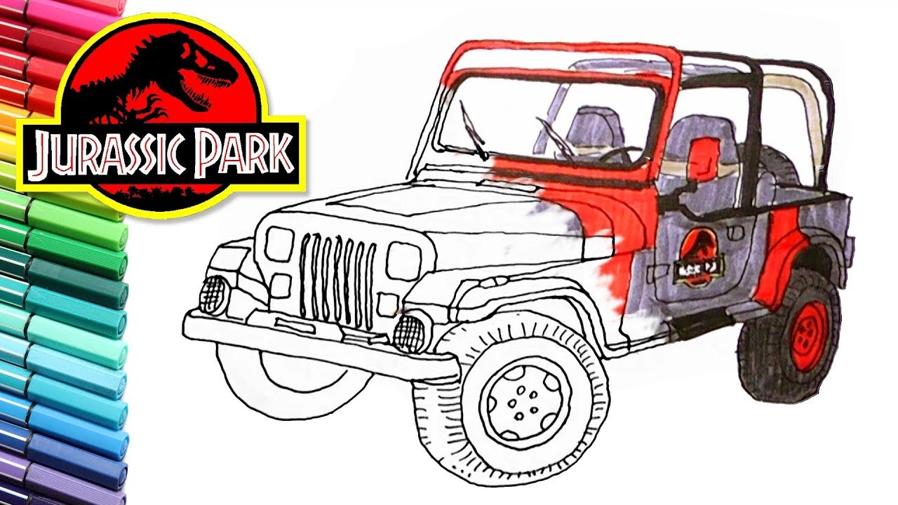 Drawing And Coloring Jurassic Park Jeep Vehicle Color Page For Wrangler Draw Children