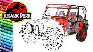 Drawing and Coloring Jurassic Park Jeep - Vehicle Color Page for Children