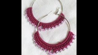 Brinco de argola com croche /  crochet earrings hoops with beads
