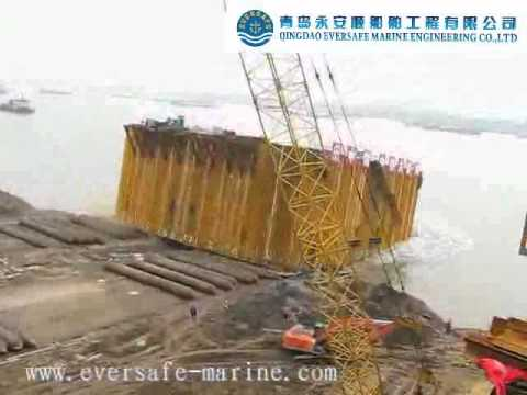 Eversafe marine launches 2800 tonnes cofferdam with air for Caisson maritime