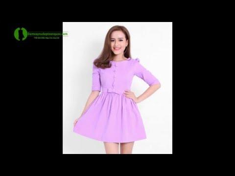 Đầm Dạo Phố Xòe Màu Tím - Đầm đẹp