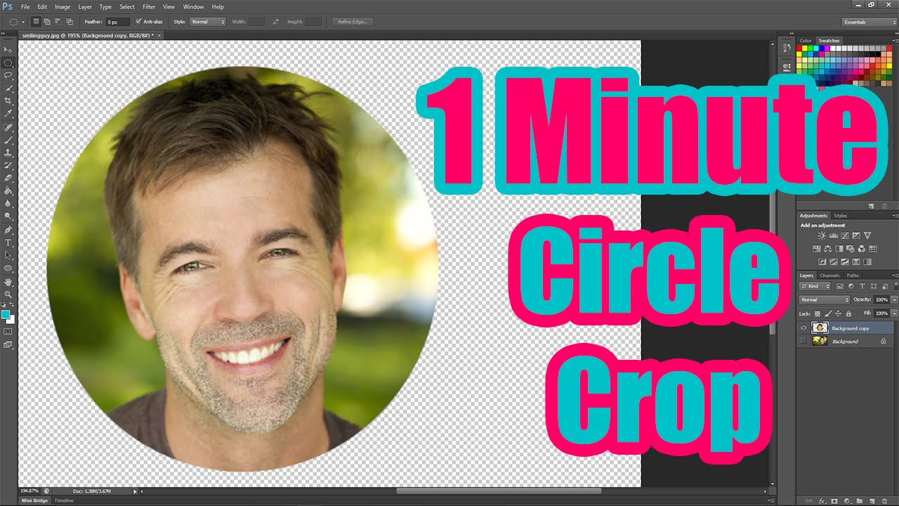 how to an crop image to a circle shape using photoshop cc youtube