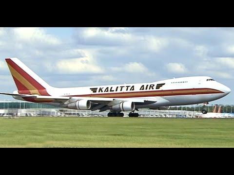 Kalitta Air Boeing 747-251B Arriving and Departing London Stansted Flybe Loganair Etihad Regional
