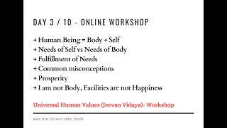 Day3 - Universal Human Values / Jeevan Vidya Online Workshop - Suman Yelati