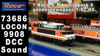 Roco 73686 LOCON Benelux 9908 + Tijdperk 6 goederenwagons Roco en Piko