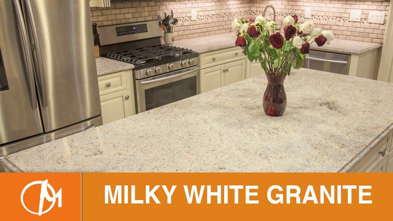 Milky White Granite Kitchen Countertops - YouTube
