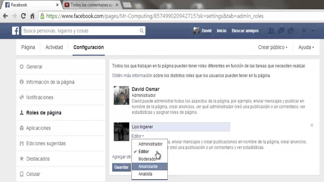 Como agregar administradores en mi página de facebook versión ...