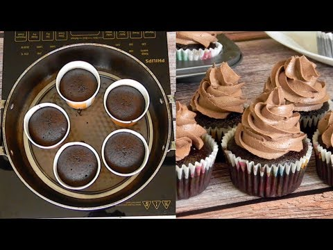 Chocolate Cupcake - Eggless And Without Oven | Super Soft & Moist Cupcakes With Chocolate Frosting