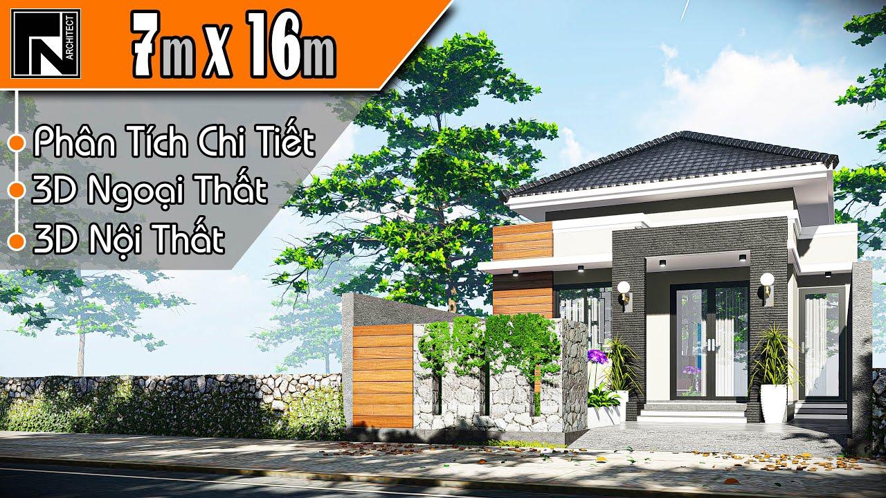 ✔️Mẫu nhà cấp 4 mái nhật hiện đại 7×16 m, 3 phòng ngủ | nhà cấp 4 TNA112 | Kiến trúc TN