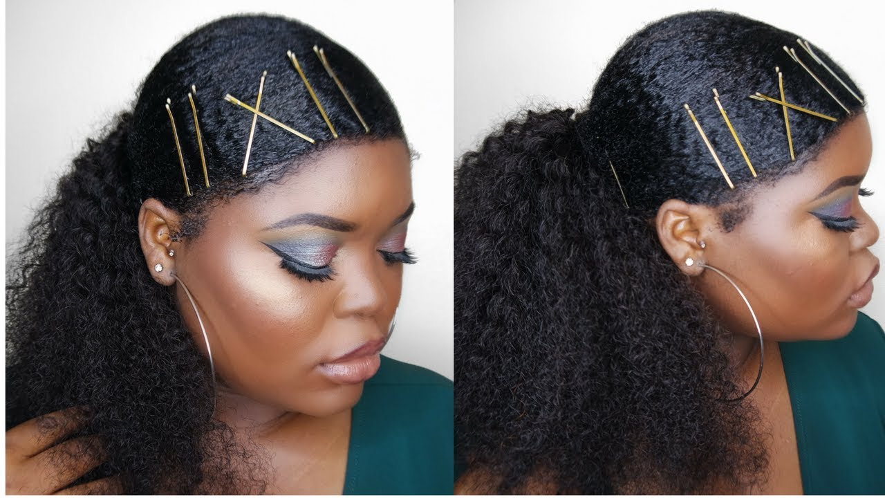 Sleek Low Ponytail On Thick Kinky Natural Hair Youtube