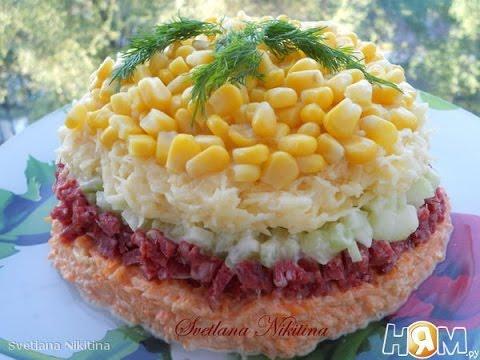 салат испанский рецепт с колбасой и огурцом