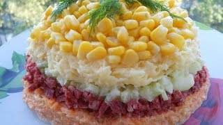 Салат Предвкушение с морковью, колбасой и огурцом  Пошаговый рецепт с фото