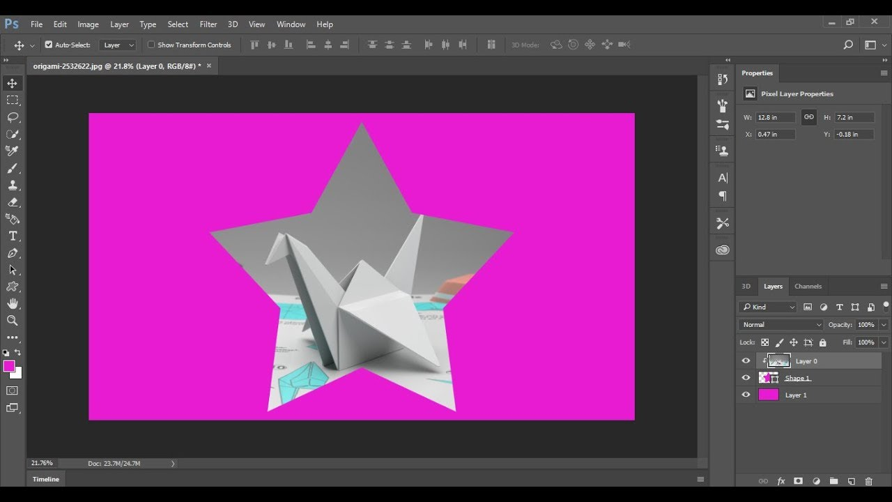 how to put an image inside a shape in photoshop