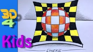 easy 3d drawing draw a Ball for kids and beginners  3d #31
