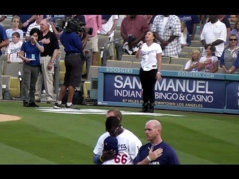 Melanie Amaro Sings National Anthem at Dodger Stadium 6-29-13 - X-Factor Winner