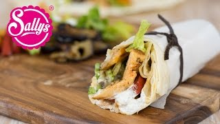 mediterrane Wraps mit Hähnchen und Gemüse