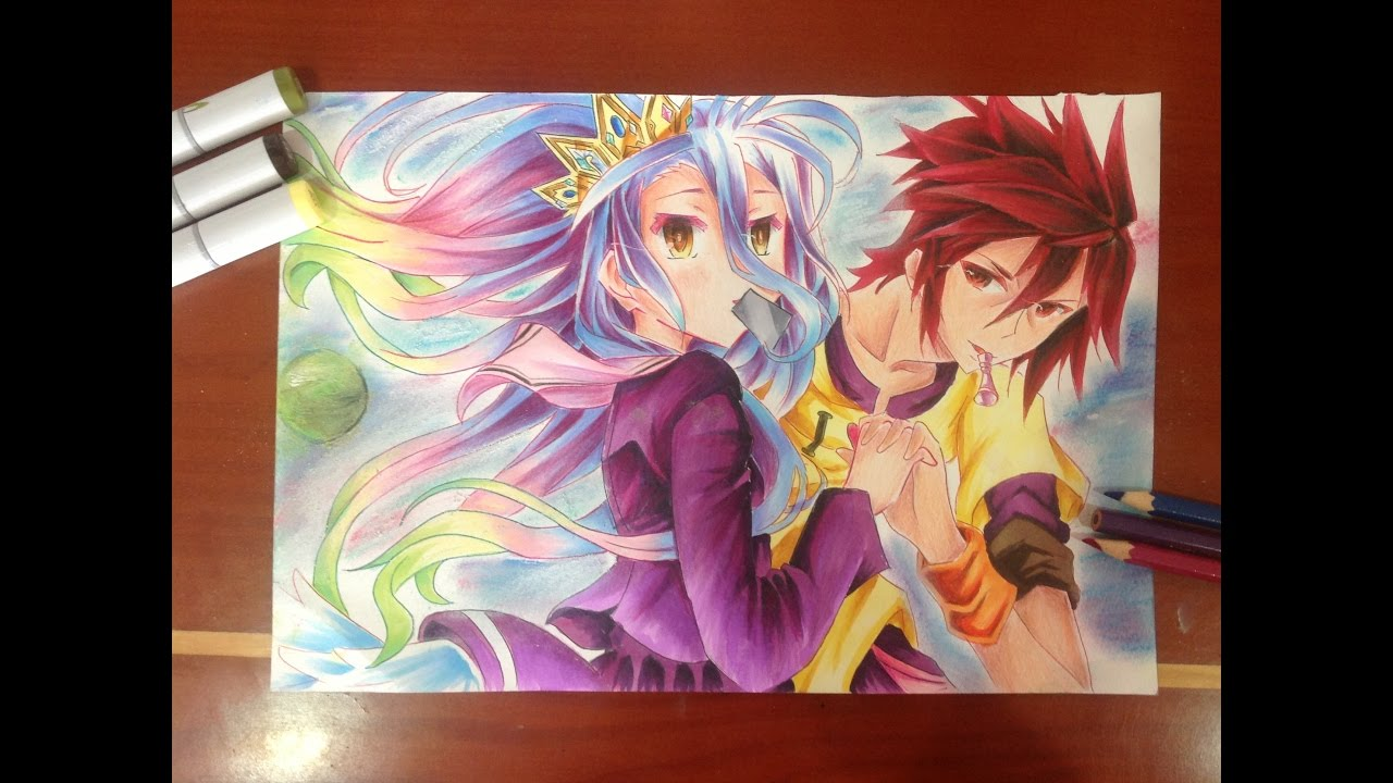 drawing shiro and sora from no game no life youtube