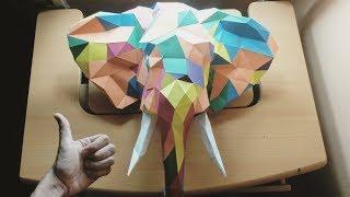 Como hacer un Elefante 3D con papel fácil y rápido