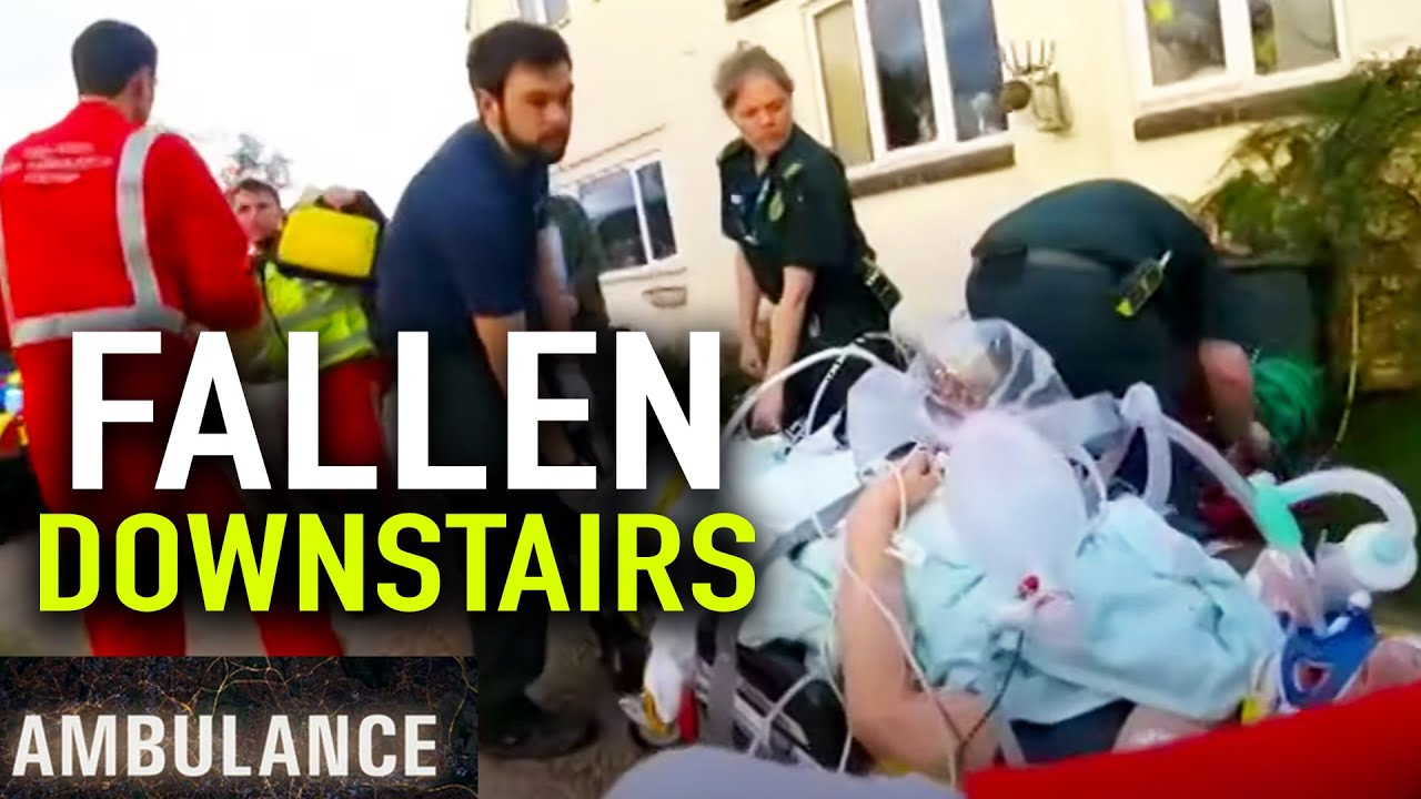 Woman FALLS downstairs (Helicopter Rescue) | Ambulance (BBC) | Blue Light: Police & Emergency