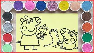 TÔ MÀU TRANH CÁT PEPPA PIG ANH VÀ EM - Coloring peppa pig family with colors sand (Chim Xinh)