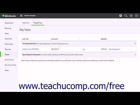 QuickBooks Online Plus 2017 Tutorial Paying Payroll Tax Liab