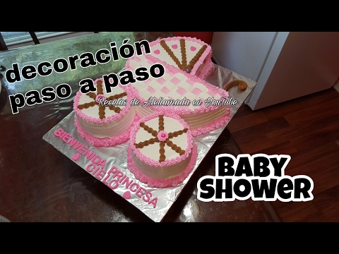 DECORACIÓN DE PASTEL EN FORMA DE CARREOLA PASO A PASO - IDEAS PARA BABY SHOWER