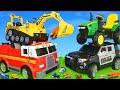 Escavadora, Carrinho de bombeiros, Trator, Caminhões de lixo e carros de policia - Excavator Toys