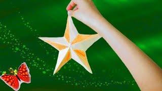 Как сделать звезду из бумаги быстро и  легко, оригами DIY. На 9 мая!