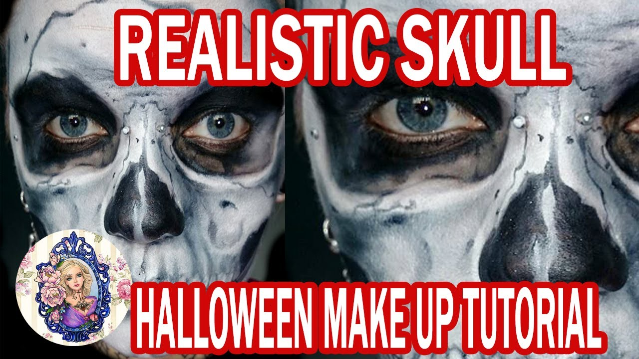 realistic skull halloween makeup - YouTube