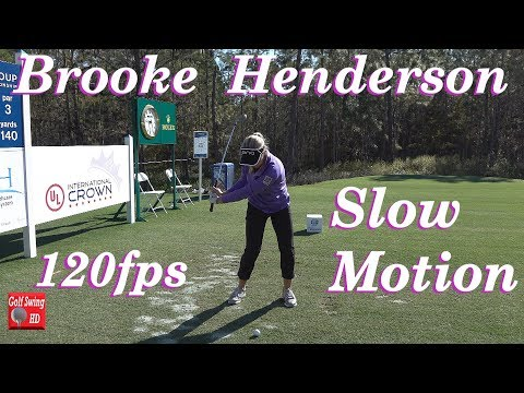 BROOKE HENDERSON 120fps SLOW MOTION FACE ON IRON GOLF SWING