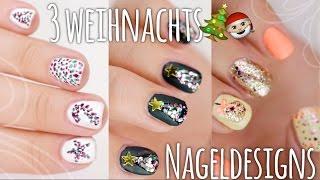 3 schöne & easy WEIHNACHTS-Nageldesigns - #BEEcember2 ❄ | Dagi Bee thumbnail