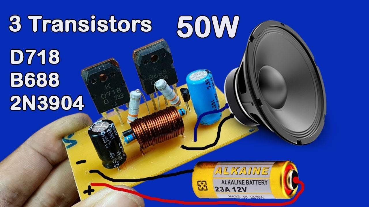 medium resolution of how to make 12v amplifier used 3 transistors d718 and b688 and 2n3904 50w