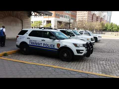 A Few Of New Jersey Transit Police Units Parked At Hoboken Terminal In Hoboken, New Jersey