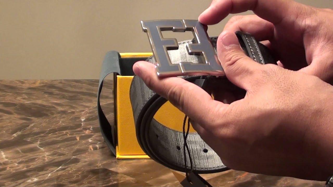 0ffaf200a9 Fendi FF College Belt Grey (Canvas/Leather) Authentic - YouTube