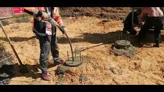 Заливаем свайный фундамент по моему проекту, краном за 2000 рублей в час, с одной стоянки (\