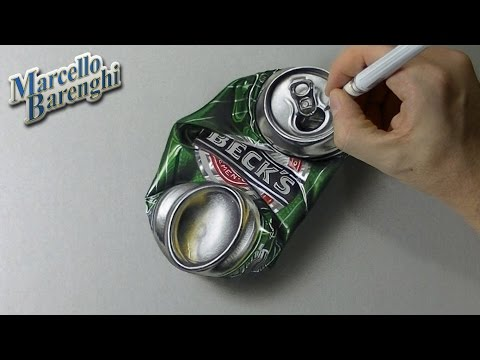 How to draw a crushed can of beer 3D – hyper realistic art