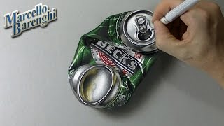 How to draw a crushed can of beer 3D - hyper realistic art
