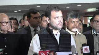 Congress President Rahul Gandhi addresses media after the opposition party meet