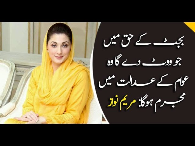 Voting in favor of this budget is crime : Maryam Nawaz