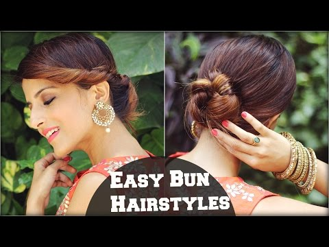 2 Min EASY Bun Hairstyles For Medium Hair/ Hairstyles For Indian Wedding Occasions
