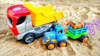 Мультики про машинки. Синий трактор проколол колесо. Машинки игрушки. Детские мультики.