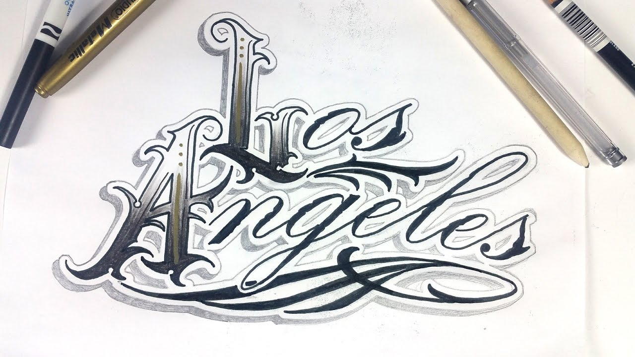los angeles tattoo lettering design time lapse youtube. Black Bedroom Furniture Sets. Home Design Ideas