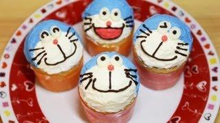 How to make Doraemon Cup Cakes ドラえもん カップケーキ