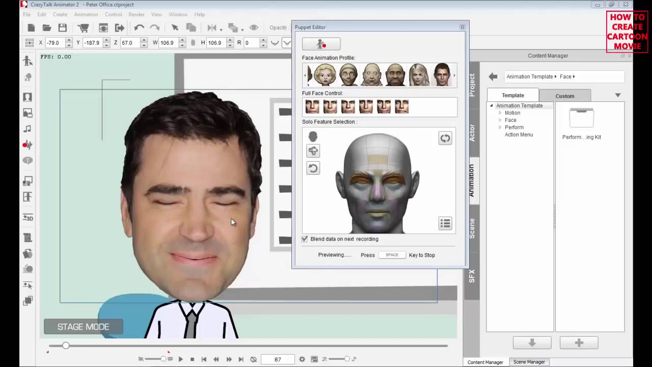 Cartoon animation maker step by step face basic facial puppeteering